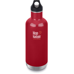 Klean Kanteen Classic Vacuum Insulated Borraccia Loop Cap 946ml rosso